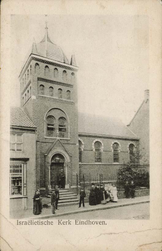 Prentbriefkaart van de synagoge in Eindhoven, ca. 1920