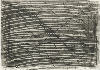 Moshe Kupferman, Untitled, 1972, hard and soft pencil and graphite on paper (partially sandpapered and erased), 50 x 70 cm, Jewish Historical Museum, gift of Ad Petersen